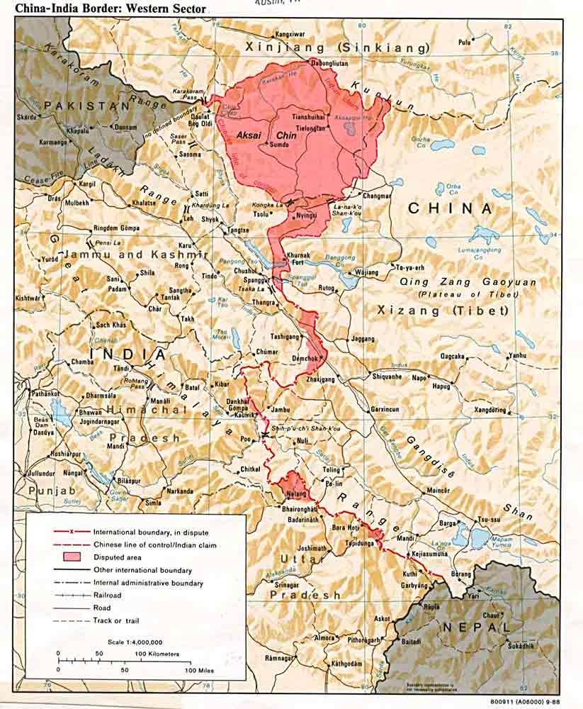 Mapa señalando Aksai Chin