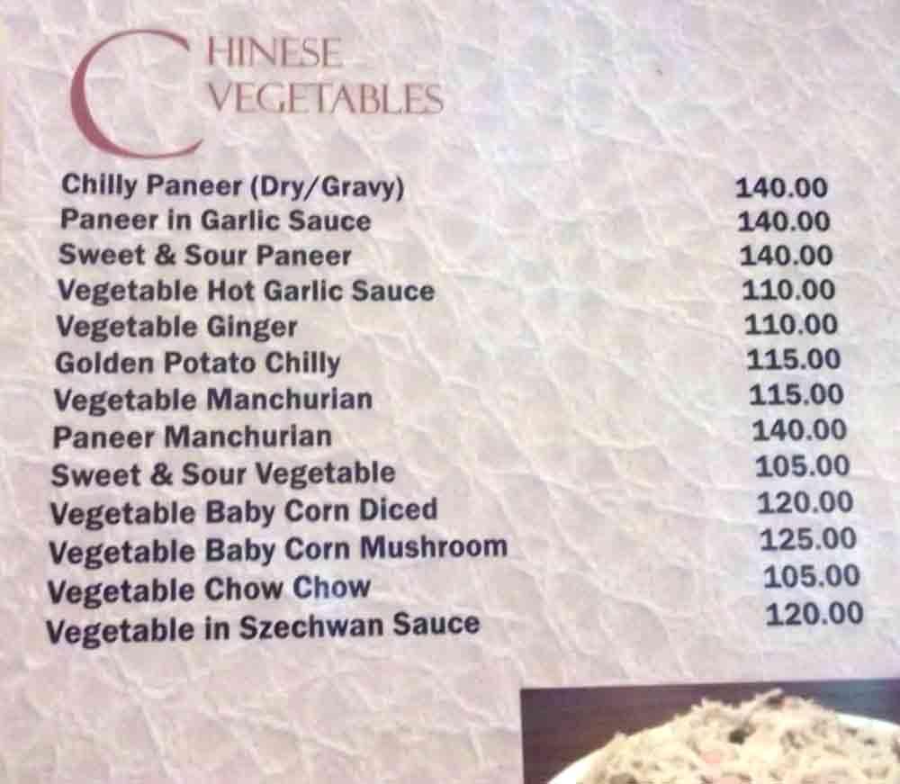 Precios menú indio