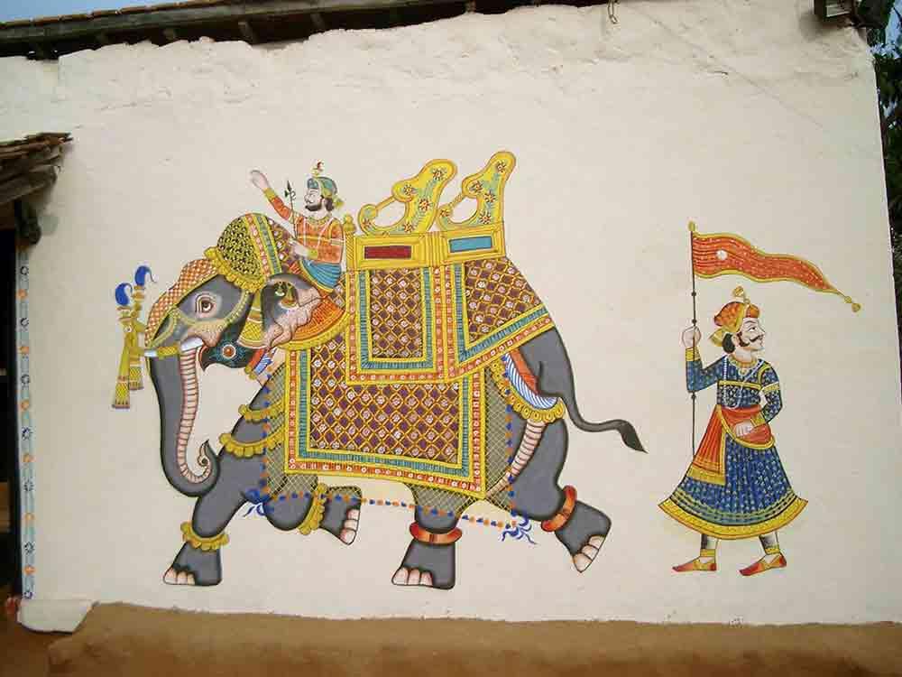Grafitti en Shilpgram elefante