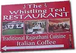 Cartel en Udaipur Restaurante