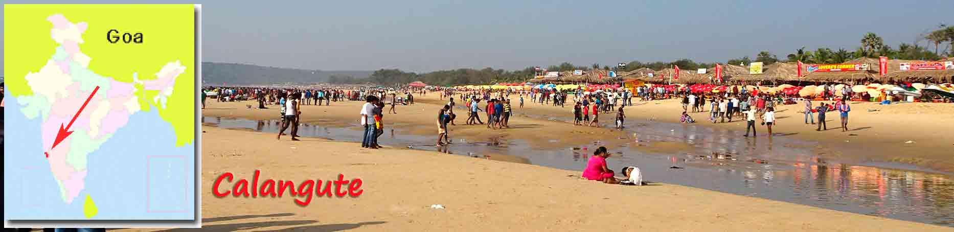 Playa Calangute y gente