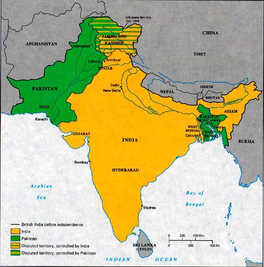 Mapa India y Pakistán